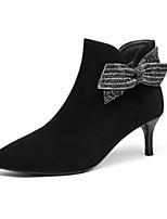 Недорогие -Жен. Fashion Boots Замша Осень Ботинки На низком каблуке Закрытый мыс Ботинки Черный