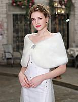 abordables -Sans Manches Fausse Fourrure Mariage / Anniversaire Etoles de Femme Avec Broche florale en Cristal Capes Poncho