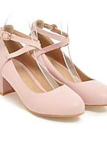 baratos -Mulheres Sapatos Confortáveis Couro Ecológico Primavera Saltos Salto Robusto Preto / Bege / Rosa claro