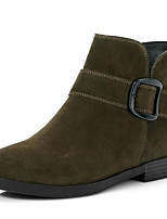 Недорогие -Жен. Fashion Boots Замша Весна Ботинки На низком каблуке Закрытый мыс Ботинки Черный / Военно-зеленный