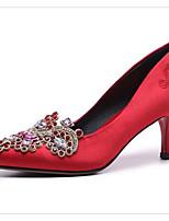 abordables -Femme Chaussures de confort Satin Printemps Chaussures de mariage Talon Aiguille Rouge / Champagne