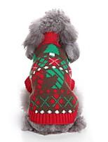baratos -Cachorros Súeters Roupas para Cães Floral / Botânico / Natal Vermelho / Azul Terylene Ocasiões Especiais Para animais de estimação Unisexo Festa / Noite / Natal