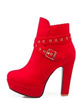 Недорогие -Жен. Комфортная обувь Синтетика Наступила зима Ботинки На плоской подошве Черный / Красный