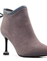 Недорогие -Жен. Комфортная обувь Замша Осень Ботинки На шпильке Черный / Верблюжий