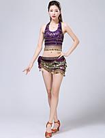 baratos -Dança do Ventre Roupa Mulheres Treino Poliéster Faixa / Lantejoula Sem Manga Caído Blusa / Xale de Dança do Ventre