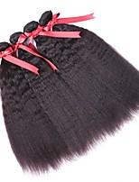 Недорогие -4 Связки Перуанские волосы Вытянутые Натуральные волосы Человека ткет Волосы / One Pack Solution / Накладки из натуральных волос 8-28 дюймовый Естественный цвет Ткет человеческих волос