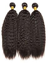 billiga -3 paket Brasilianskt hår / Indiskt hår Yaki Rakt Äkta hår / Obehandlat Mänsligt hår Presenter / Human Hår vävar / bunt hår 8-28 tum Naurlig färg Hårförlängning av äkta hår Cosplay / Ny ankomst