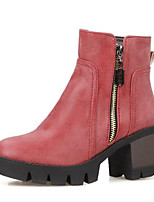 Недорогие -Жен. Fashion Boots Полиуретан Осень Ботинки На толстом каблуке Закрытый мыс Ботинки Серый / Желтый / Красный