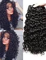 Недорогие -4 Связки Бразильские волосы Волнистые 8A Натуральные волосы Человека ткет Волосы Пучок волос One Pack Solution 8-28 дюймовый Естественный цвет Ткет человеческих волос Машинное плетение