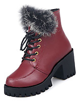 Недорогие -Жен. Армейские ботинки Полиуретан Осень На каждый день Ботинки Блочная пятка Сапоги до середины икры Черный / Винный