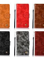 Недорогие -Кейс для Назначение HTC U11 Кошелек / Бумажник для карт / со стендом Чехол Однотонный Твердый Кожа PU для HTC U11