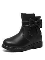Недорогие -Девочки Обувь Кожа Зима Модная обувь / Армейские ботинки Ботинки Бант для Дети Черный / Красный / Розовый