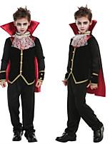 abordables -Vampire Costume de Cosplay Bal Masqué Garçon Adolescent Plus d'uniformes Halloween Halloween Mascarade Fête / Célébration Tenue Noir simple / Satin