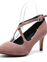 Недорогие -Жен. Балетки Замша Весна Обувь на каблуках На шпильке Черный / Розовый