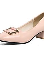 Недорогие -Жен. Комфортная обувь Лакированная кожа Весна Обувь на каблуках На толстом каблуке Черный / Розовый / Миндальный