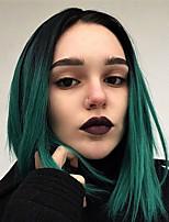 Недорогие -EEWigs Синтетические кружевные передние парики Естественные прямые Боковая часть Искусственные волосы 12-14 дюймовый с детскими волосами / Косплей / Для вечеринок Зеленый Парик Жен. Средняя длина