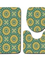 baratos -3 Peças Tradicional Tepetes de Banheiro Poliéster Elástico Tricotado 100g / m2 Xadrez Retângular Banheiro Fofo