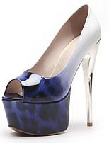 Недорогие -Жен. Комфортная обувь Полиуретан Весна Обувь на каблуках На шпильке Черный / Коричневый / Синий