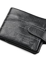 Недорогие -Муж. Мешки Бумажники Пуговицы / Рельефный Сплошной цвет Черный