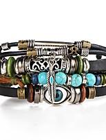 abordables -Homme Tressé Bracelets en cuir - Yeux Artistique, Original Bracelet Marron Pour Soirée Plein Air