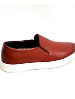 Недорогие -Жен. Комфортная обувь Наппа Leather Весна На плокой подошве На плоской подошве Закрытый мыс Черный / Темно-русый