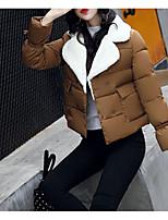 Недорогие -Жен. Повседневные Однотонный Короткая На подкладке, Полиэфир Длинный рукав Капюшон Розовый / Желтый / Военно-зеленный L / XL / XXL / Тонкие