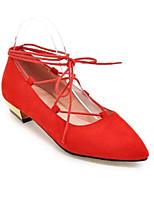 Недорогие -Жен. Балетки Полиуретан Лето Обувь на каблуках На толстом каблуке Серый / Красный / Розовый
