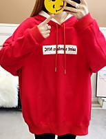 Недорогие -женский выход длинный рукав slim hoodie - письмо / цветной блок с капюшоном