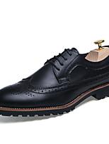 Недорогие -Муж. Комфортная обувь Кожа Осень Английский Туфли на шнуровке Доказательство износа Черный / Коричневый / Винный