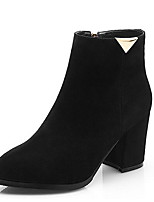 Недорогие -Жен. Fashion Boots Замша Лето Ботинки На толстом каблуке Закрытый мыс Ботинки Черный