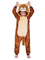 abordables -Enfant Pyjamas Kigurumi Lion Combinaison de Pyjamas Flanelle Café Cosplay Pour Garçons et filles Pyjamas Animale Dessin animé Fête / Célébration Les costumes