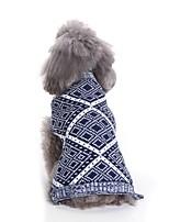 baratos -Cachorros Súeters Roupas para Cães Geométrica / Tingido / Personagem Vermelho / Azul Terylene Ocasiões Especiais Para animais de estimação Unisexo Casual / Estilo simples