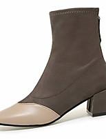 Недорогие -Жен. Fashion Boots Полиуретан Наступила зима На каждый день Ботинки Блочная пятка Круглый носок Сапоги до середины икры Черный / Хаки