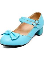 Недорогие -Жен. Комфортная обувь Искусственная кожа Лето Обувь на каблуках На толстом каблуке Белый