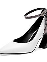 Недорогие -Жен. Балетки Наппа Leather Осень Обувь на каблуках Гетеротипическая пятка Белый / Черный