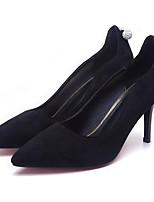 baratos -Mulheres Sapatos Confortáveis Camurça Primavera Saltos Salto Agulha Preto / Vermelho