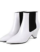 billiga -Dam Fashion Boots Nappaskinn Vinter Stövlar Bastant klack Stängd tå Korta stövlar / ankelstövlar Vit / Svart