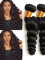 Недорогие -4 Связки Бразильские волосы Свободные волны 8A Натуральные волосы Головные уборы Человека ткет Волосы Удлинитель 8-28 дюймовый Черный Естественный цвет Ткет человеческих волос Машинное плетение