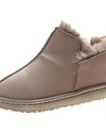 Недорогие -Жен. Зимние сапоги Полиуретан Осень На каждый день Ботинки На низком каблуке Сапоги до середины икры Серый / Розовый / Темно-коричневый