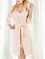 Недорогие -Жен. Асимметричный вырез Кружевное белье Пижамы Однотонный