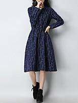 baratos -Mulheres Temática Asiática Camisa Vestido - Patchwork / Estampado, Floral / Geométrica Altura dos Joelhos