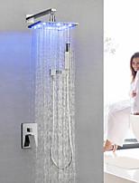 Недорогие -смеситель для душа / смеситель для ванной комнаты - современный хром настенный светодиодный