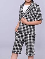 Недорогие -Дети Мальчики Активный В клетку С короткими рукавами Обычная Полиэстер Набор одежды Зеленый