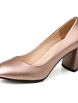 Недорогие -Жен. Комфортная обувь Наппа Leather Весна Обувь на каблуках На толстом каблуке Золотой / Черный / Серый