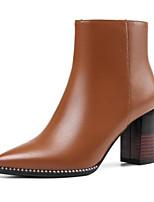 billiga -Dam Fashion Boots Nappaskinn Vinter Stövlar Bastant klack Stängd tå Korta stövlar / ankelstövlar Svart / Mörkbrun