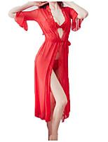Недорогие -Жен. Сексуальные платья Шёлк и сатин Ночное белье - Кружева Однотонный