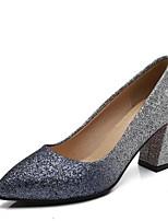 Недорогие -Жен. Комфортная обувь Полиуретан Весна Обувь на каблуках На толстом каблуке Золотой / Синий
