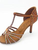 abordables -Femme Chaussures Latines Satin Sandale Paillette Brillante / Cristal / strass Mince haut talon Chaussures de danse Marron