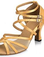 abordables -Femme Chaussures Latines Satin Sandale / Talon Boucle / Dentelle Talon Bobine Personnalisables Chaussures de danse Jaune