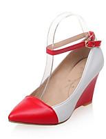 Недорогие -Жен. Комфортная обувь Полиуретан Весна Обувь на каблуках Туфли на танкетке Черный / Красный